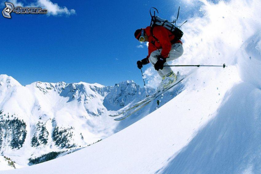 esquí extremo, salto con esquís, nieve, colinas cubiertas de nieve