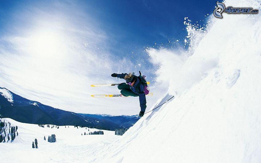 esquí extremo, salto con esquís, nieve, sol
