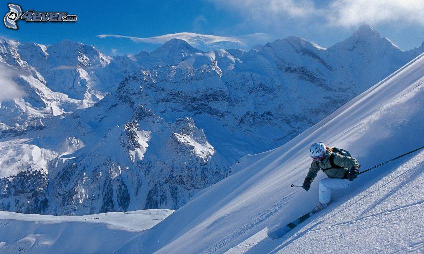 esquiador, declive, montaña nevada