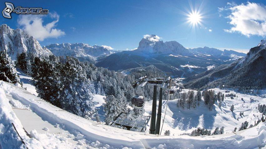 funicular, paisaje nevado