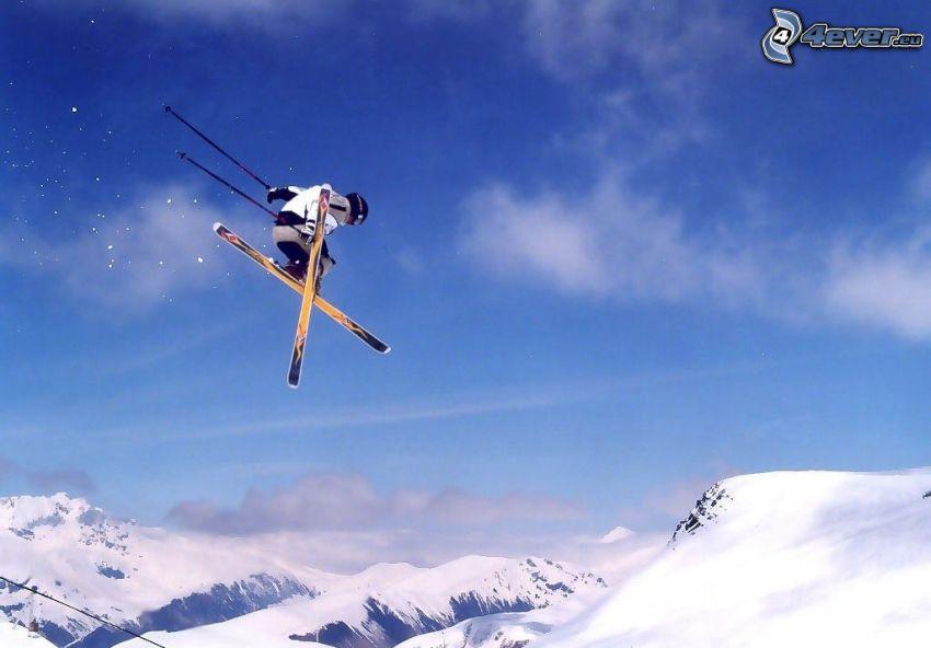 salto con esquís, adrenaline, esquiador, nieve, paisaje, vista