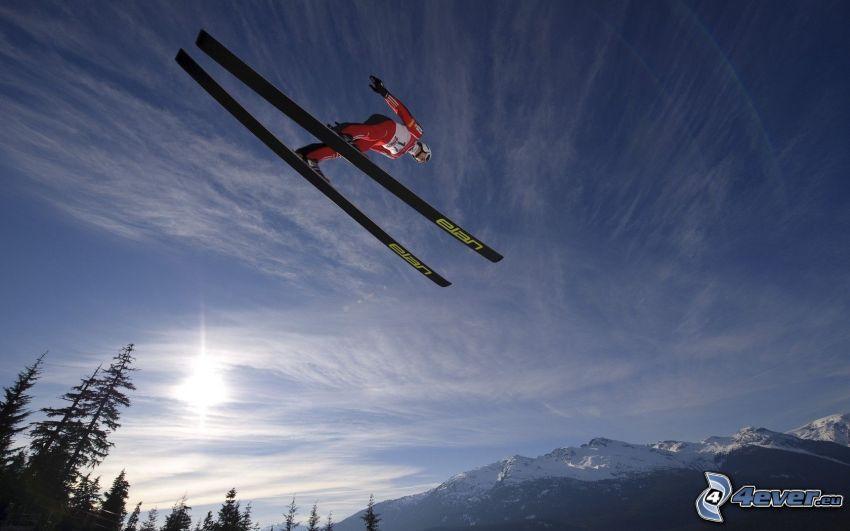 salto con esquís, sol