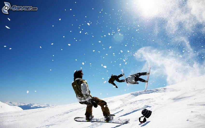 salto en tabla de snowboard, Snowboarders, nieve