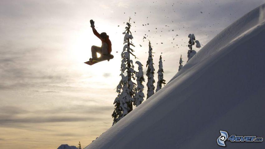 snowboarding, puesta de sol de invierno, nieve, declive