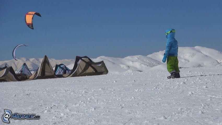 tienda de campaña, paracaídas, paisaje nevado, figura