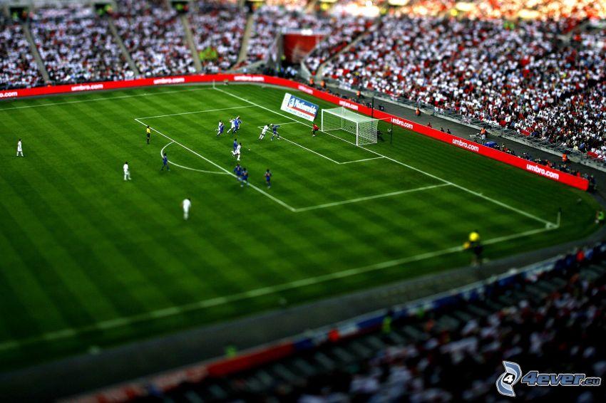 fútbol, patio de recreo, estadio, diorama