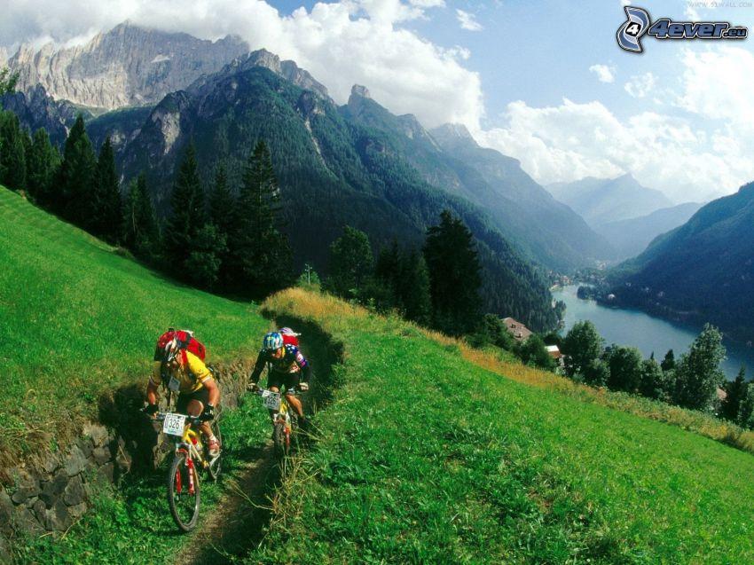 mountain biker, montañas, prado, valle
