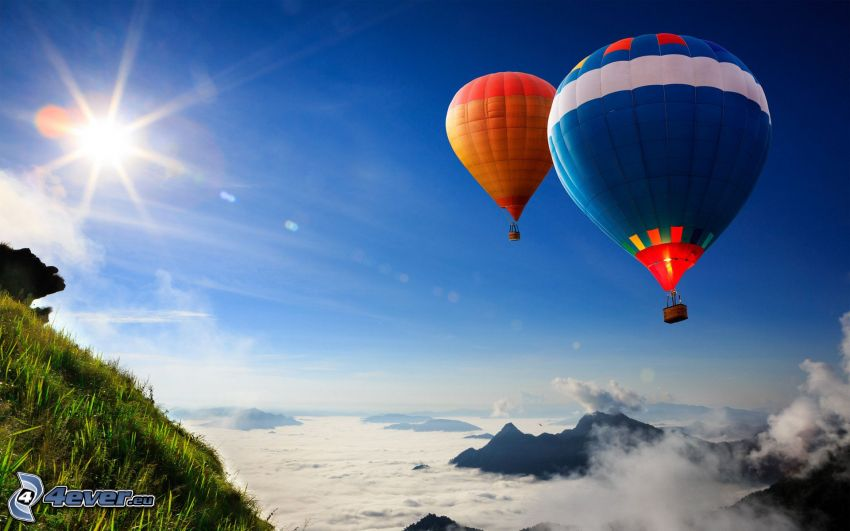 globos de aire caliente, sol, inversión térmica