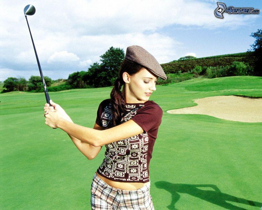 golfista, césped