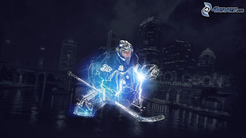 jugador de hockey, relámpago, Tampa Bay Lightning, ciudad de noche