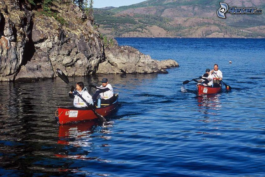 paso rápido por un río, rafting, barcos, lago, rocas