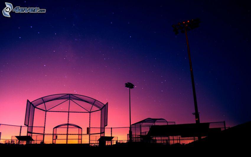 patio de recreo, estadio, noche