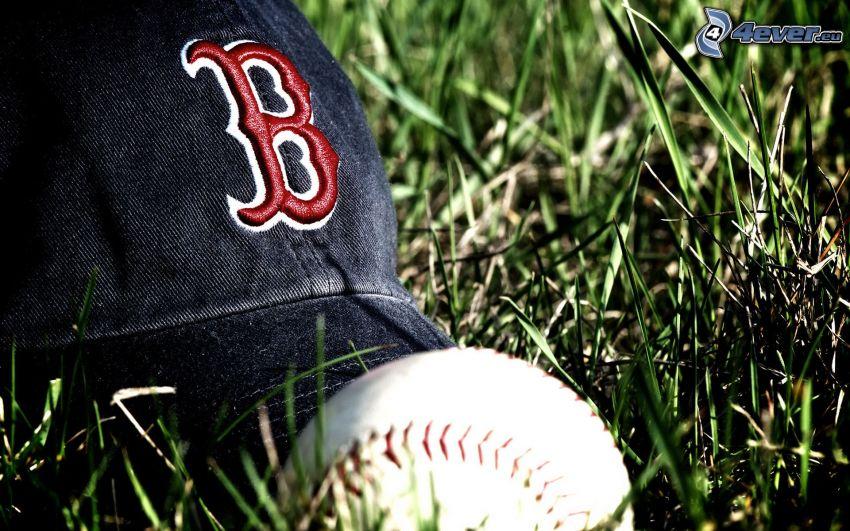 pelota de béisbol, gorro, hierba