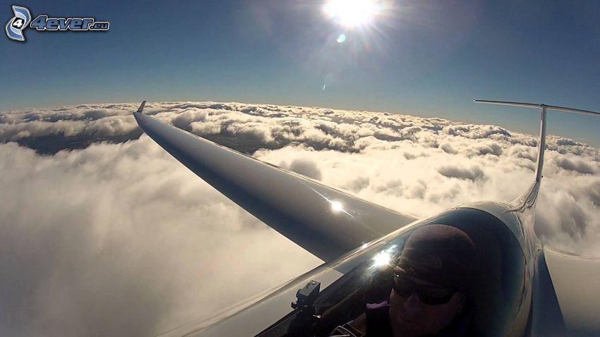 planeador, encima de las nubes, sol