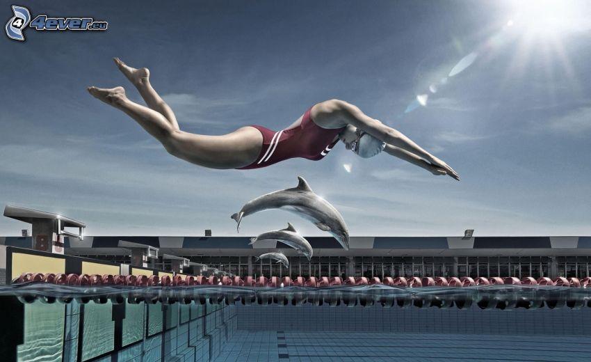 salto a la piscina, nadadora, delfines, sol