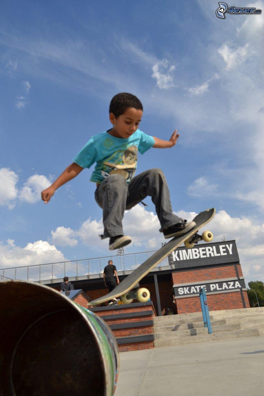 skate, salto, niño