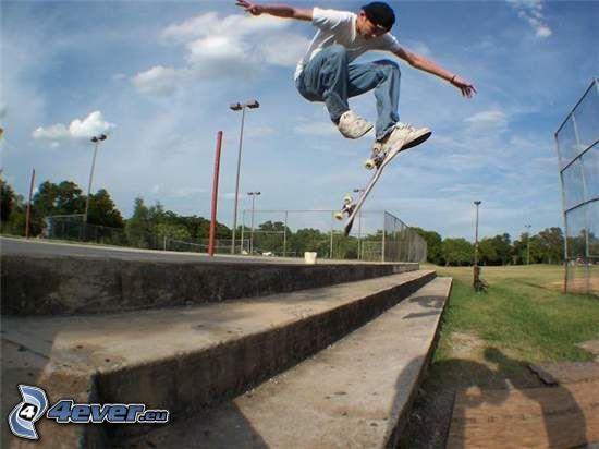 skater, salto, escalera
