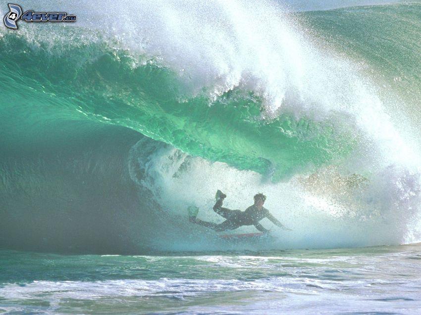 surf, caída, ola
