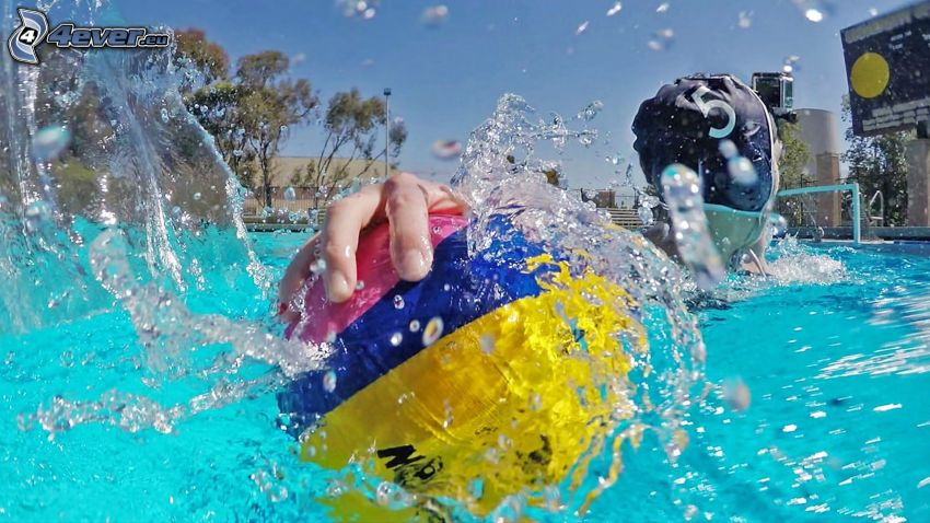 waterpolo, bola, splash