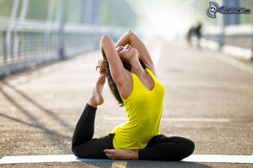 yoga, calentamiento, camino