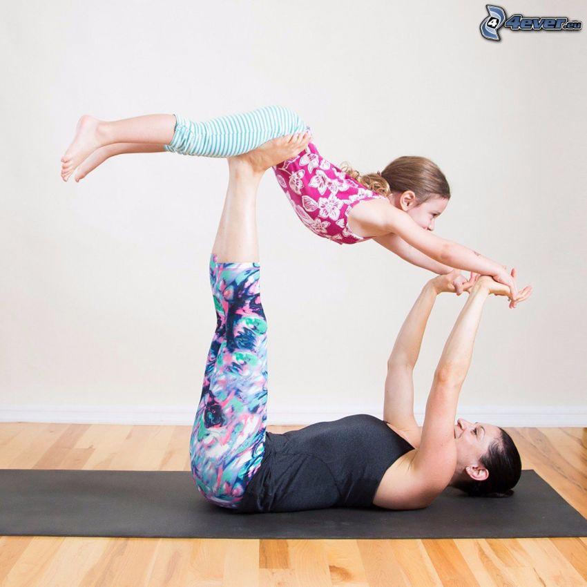 yoga, calentamiento, chica, niño con la madre