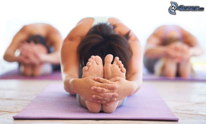 yoga, calentamiento, pies