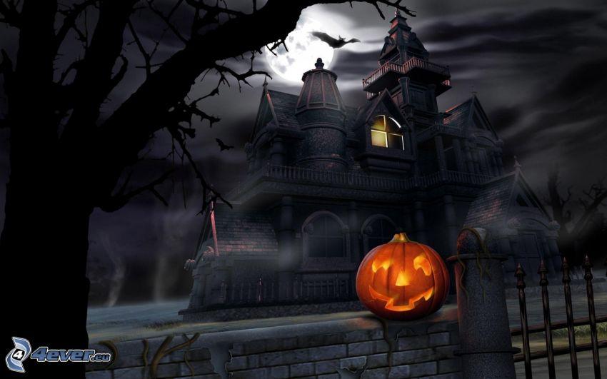 Calabaza de Halloween, jack-o'-lantern, casa de miedo