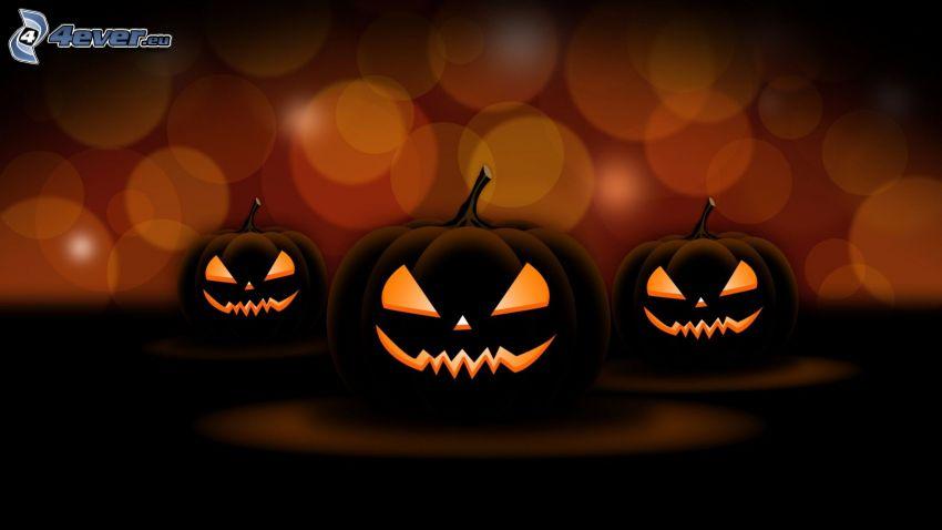 Calabazas de Halloween, círculos, dibujos animados