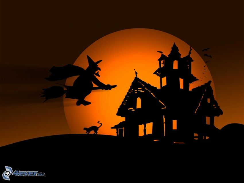 casa de miedo, bruja, bruja en escoba