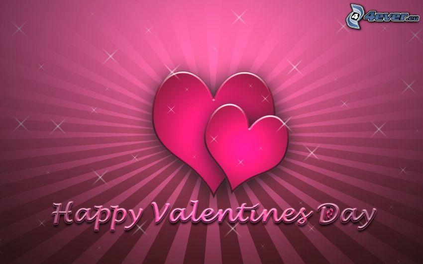 Happy Valentines Day, corazones rosados