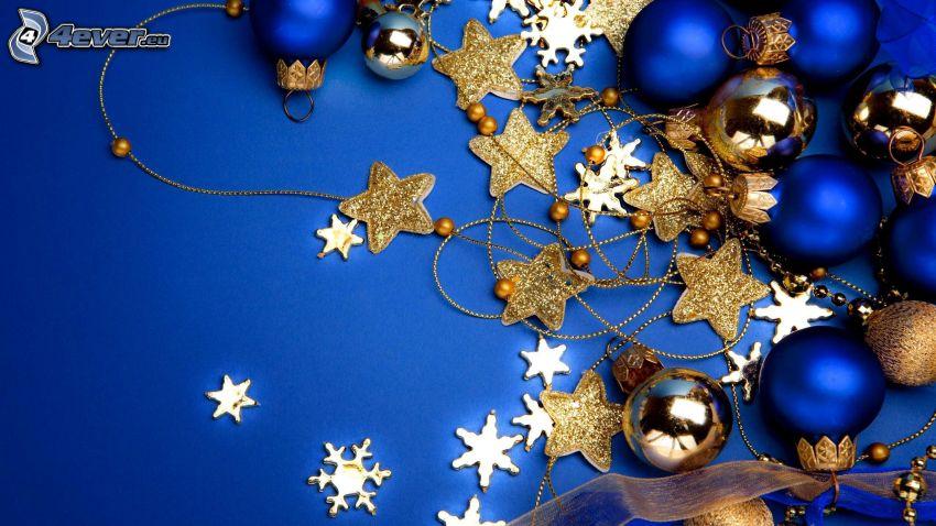 adornos navideños, bolas de navidad, estrellas, copos de nieve