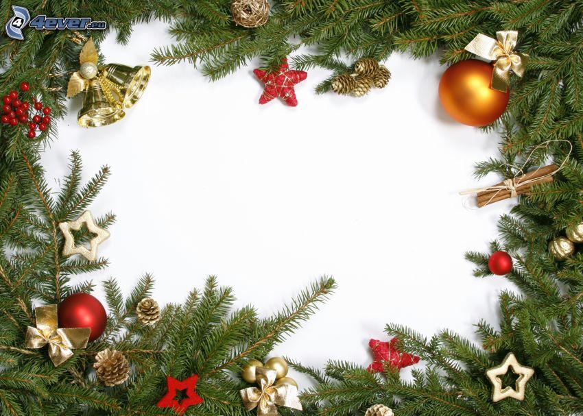 adornos navideños, ramita de coníferas