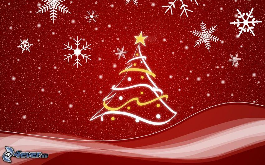 árbol de Navidad, copos de nieve