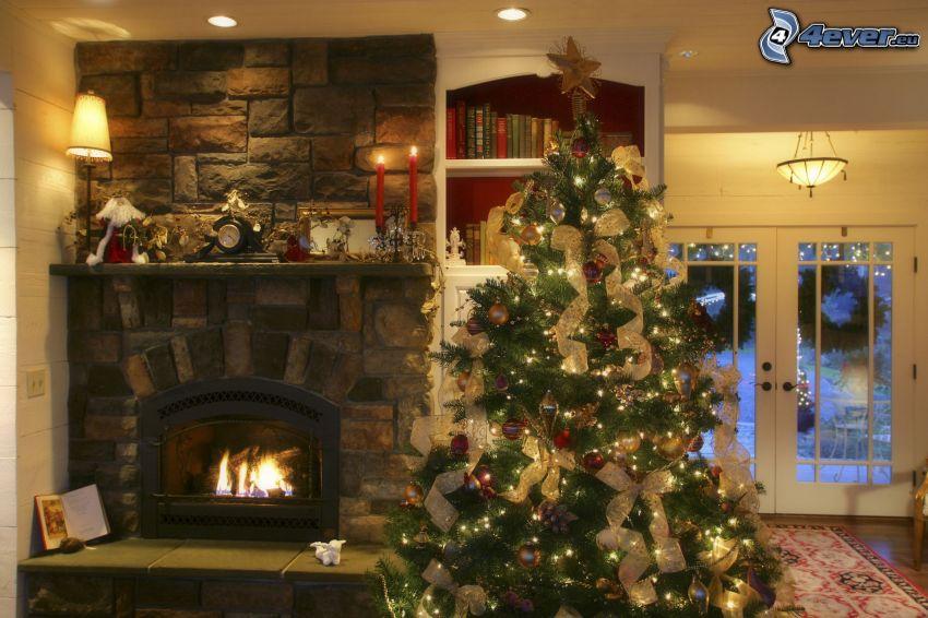 árbol de Navidad, fuego, salón