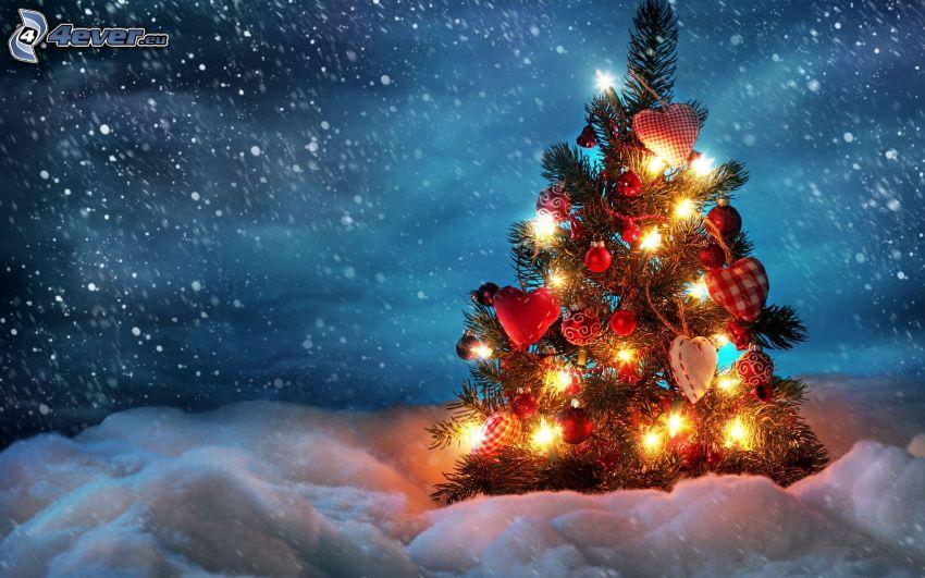 árbol de Navidad, nieve, la nevada