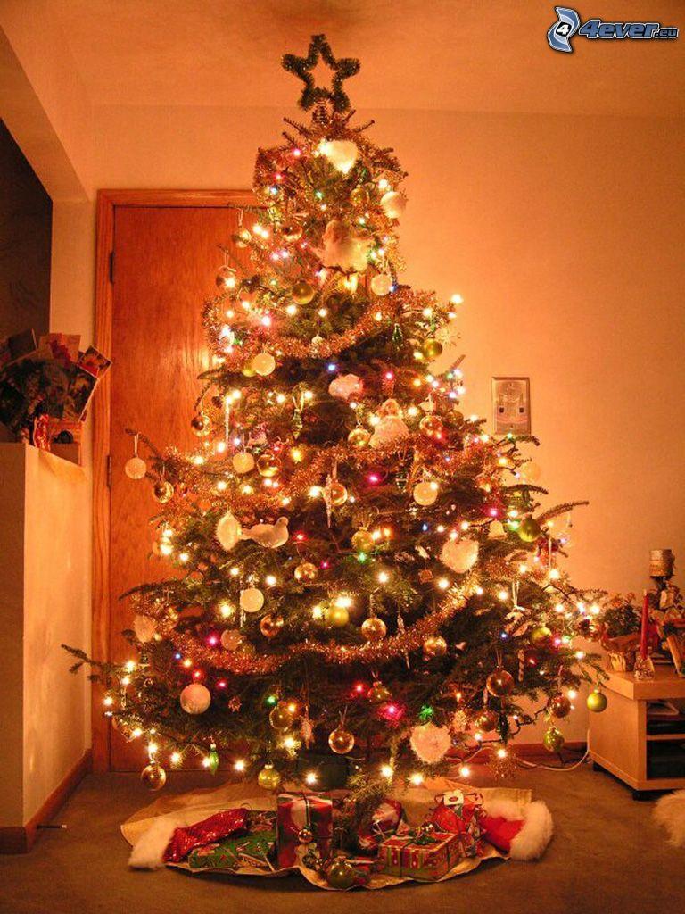 árbol de Navidad, regalos