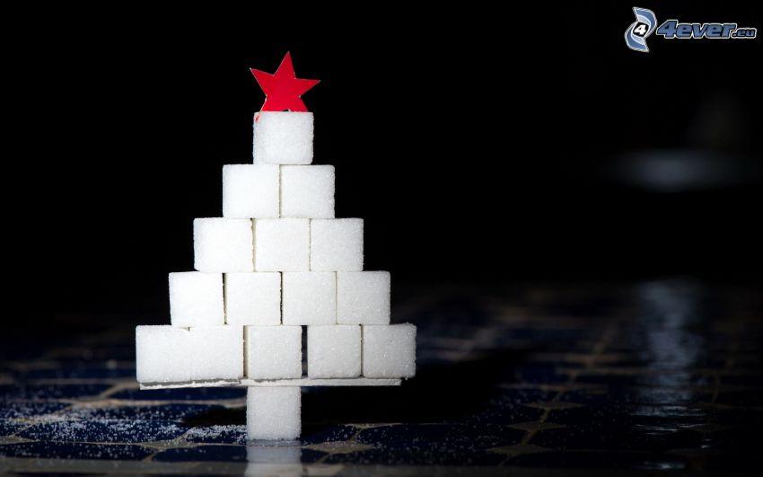 árbol de Navidad, terrones de azúcar