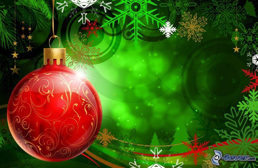 Bola de Navidad, fondo de pantalla navideño, copos de nieve