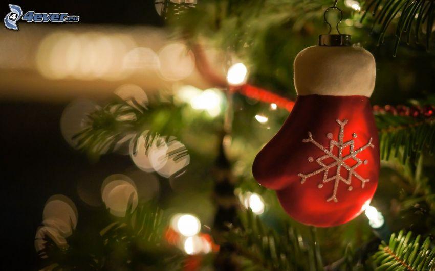 Bola de Navidad, guantes, árbol de Navidad