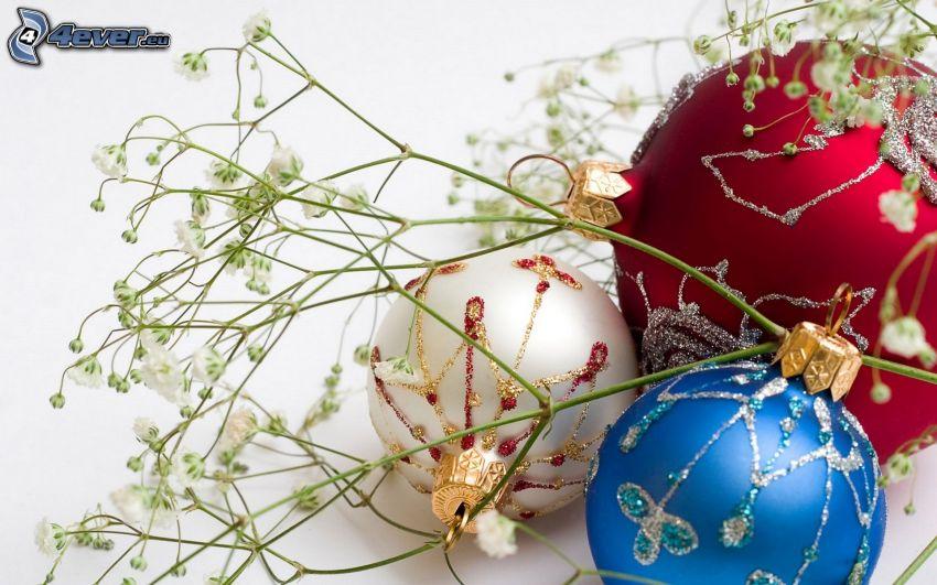 bolas de navidad, paja