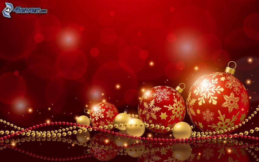 bolas de navidad, perlas, fondo rojo