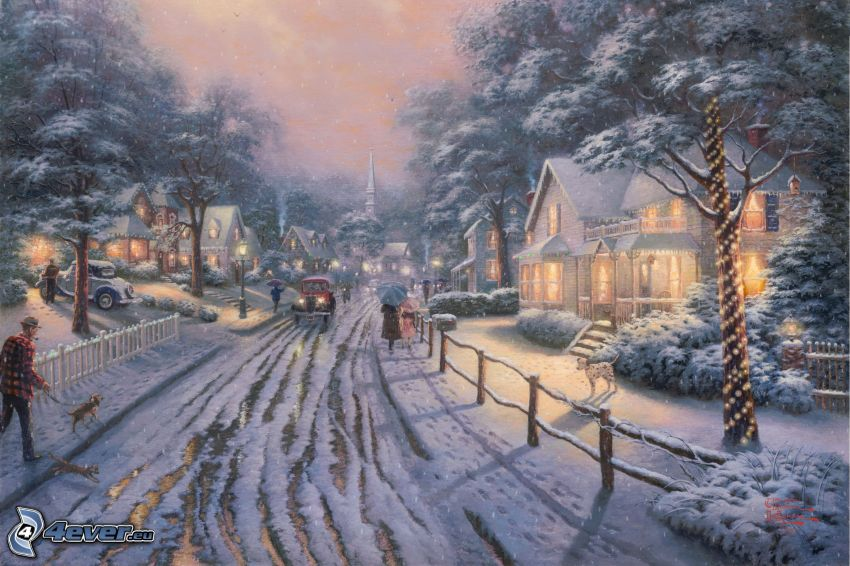 camino cubierto de nieve, calle, casas, Thomas Kinkade