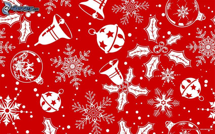 campana de Navidad, bolas de navidad, copos de nieve, fondo rojo