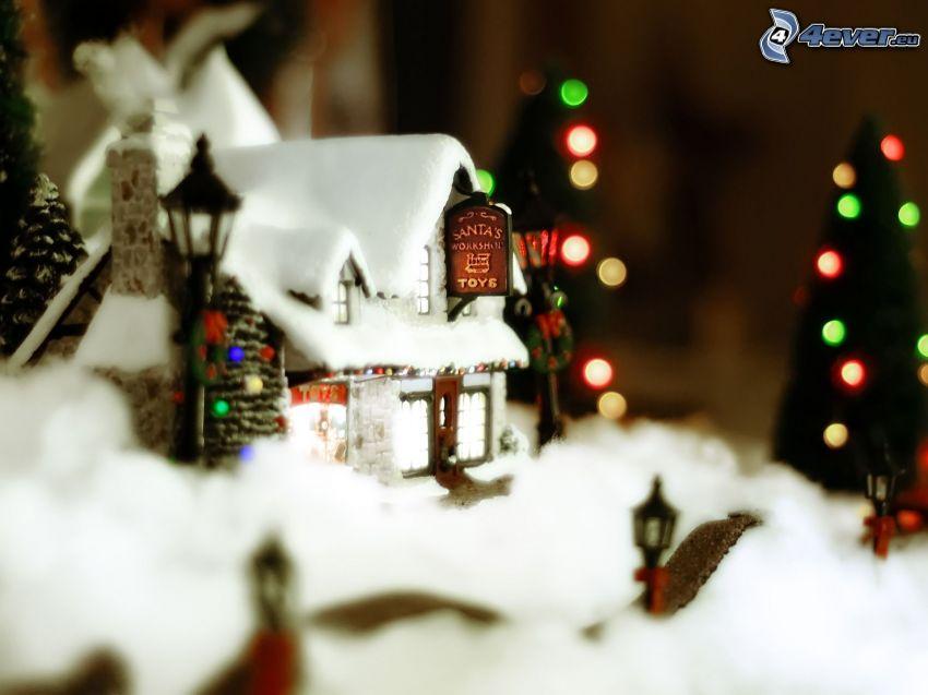 casa, nieve, árbol de Navidad