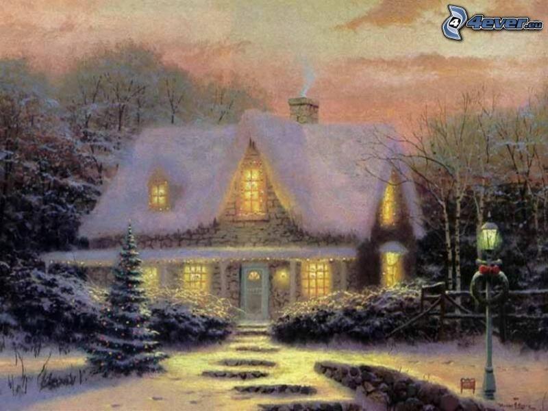 casa cubierta de nieve, casa de la historieta, nieve, Thomas Kinkade