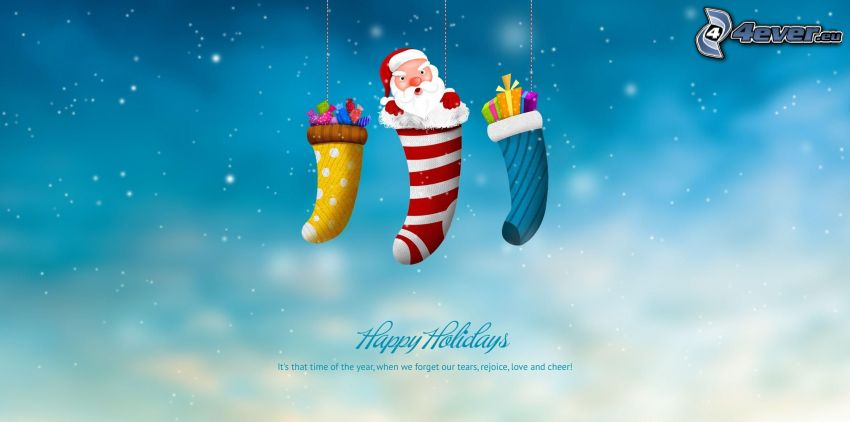Happy Holidays, Santa Claus, calcetines