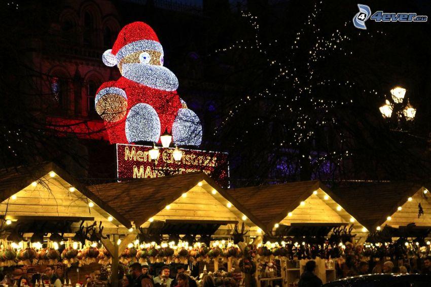 mercado, Merry Christmas, noche, Santa Claus, luces