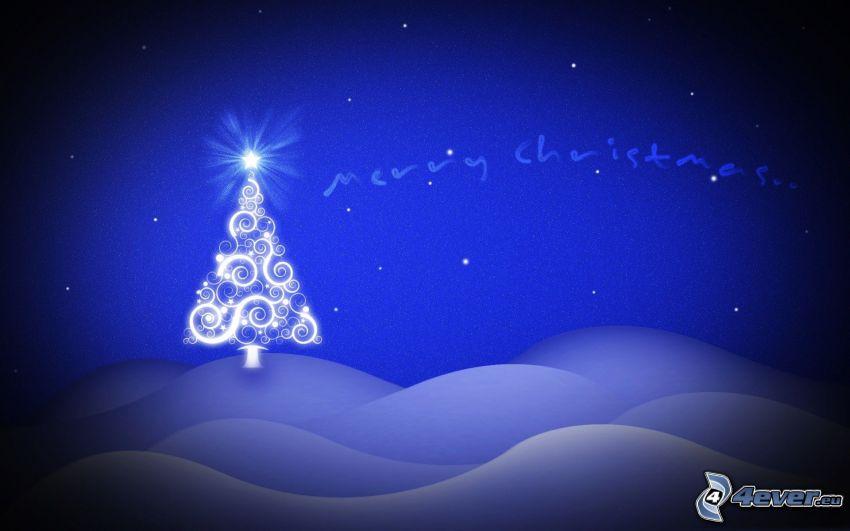 Merry Christmas, árbol de Navidad, nieve, dibujos animados