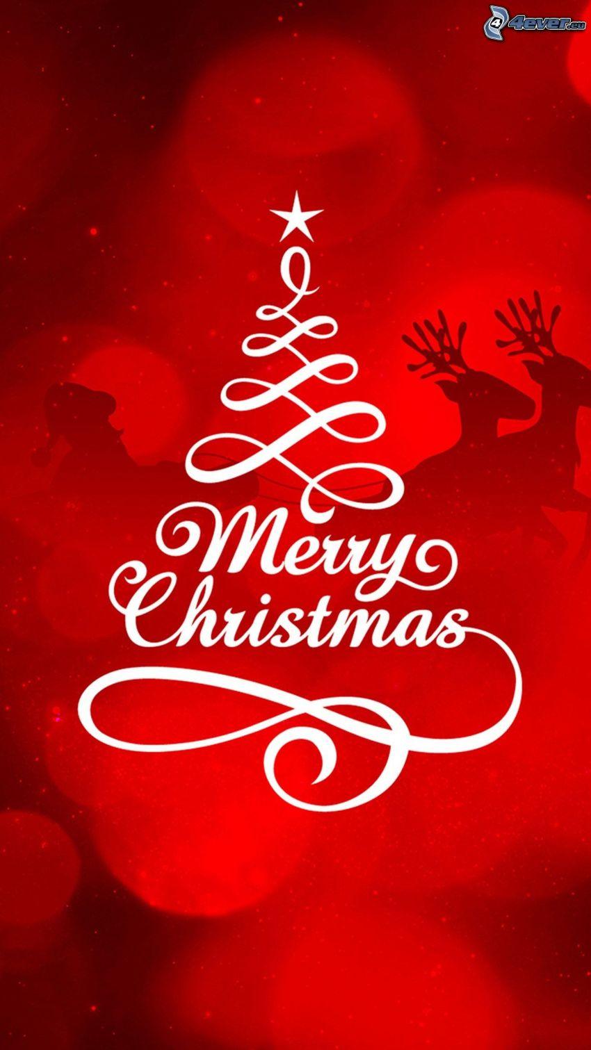 Merry Christmas, renos, trineo, Santa Claus, siluetas, árbol de Navidad, fondo rojo