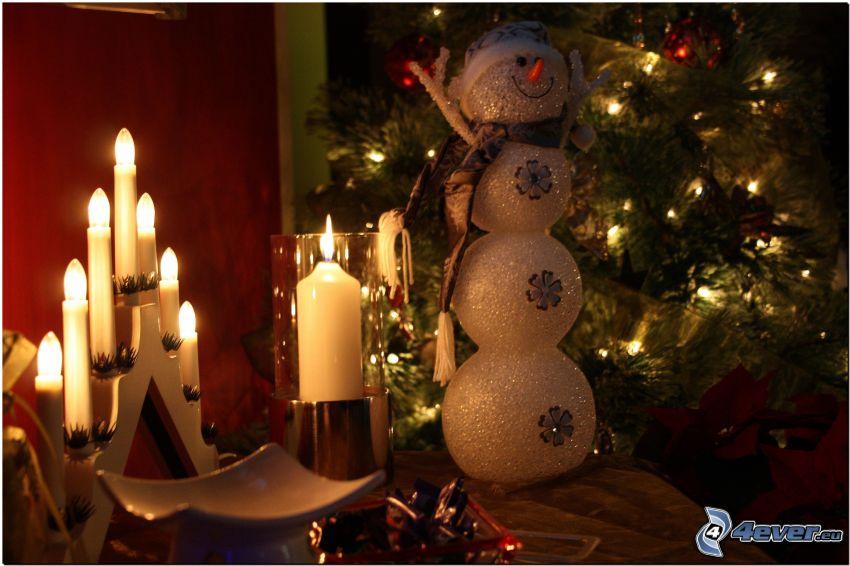 muñeco de nieve, velas, navidad